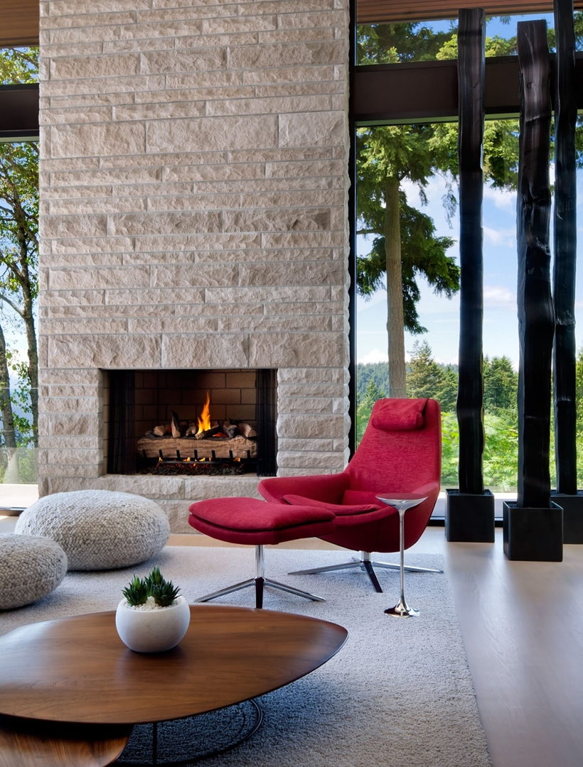 Fireplace in Elegant modern house in west Vancouver, Canada