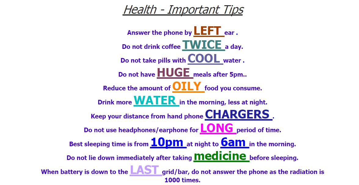 Simple but important health tips