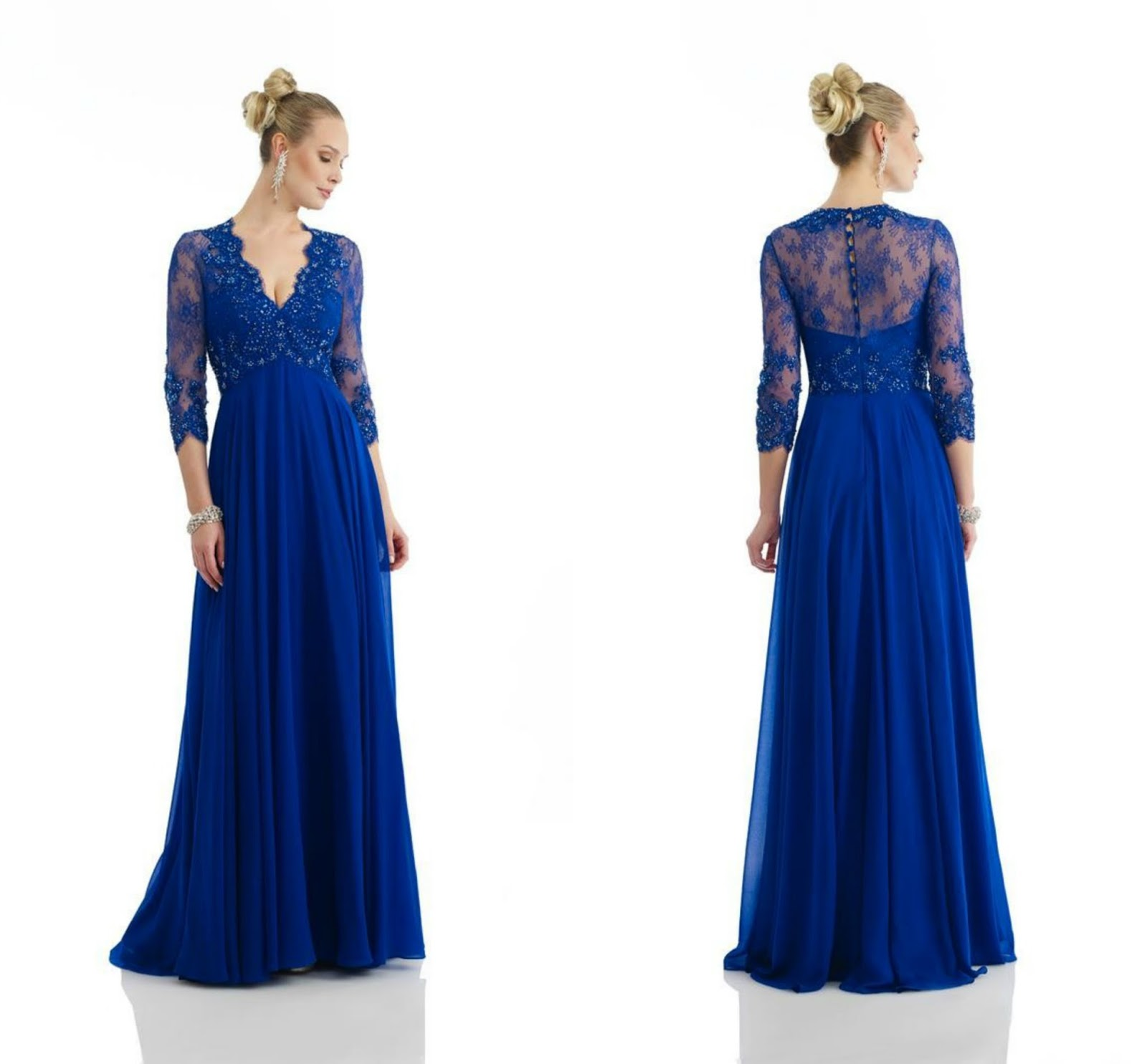 Floor Length Chiffon Blue 3/4 Length Sleeve Zipper Beading Mother Of The Bride Dress