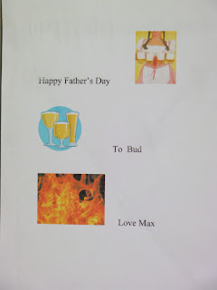 fathers' day card with boobs, beer and bonfire