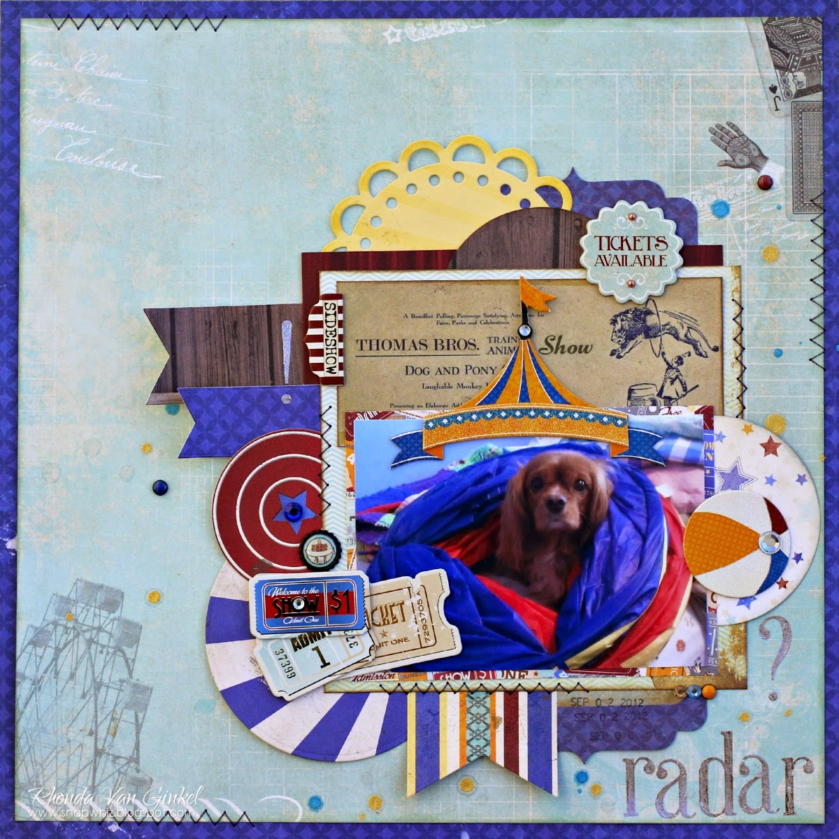 Radar scrapbook page featuring Carnival collection by BoBunny designed by Rhonda Van Ginkel