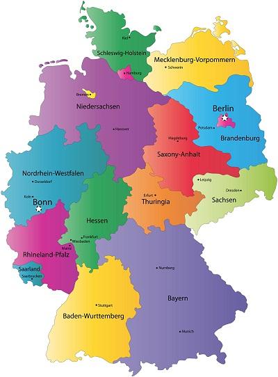 Landkarte Deutschland Regionen Politische