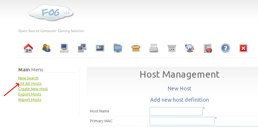 how to add hosts in fog server 1.2.0
