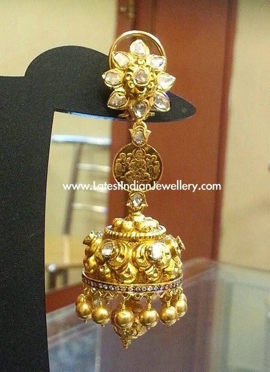 Gold Jhumka with Lakshmi Kasu
