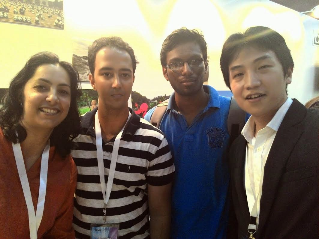 selfie taken from Zenfone with Shweta akanav and David Wu