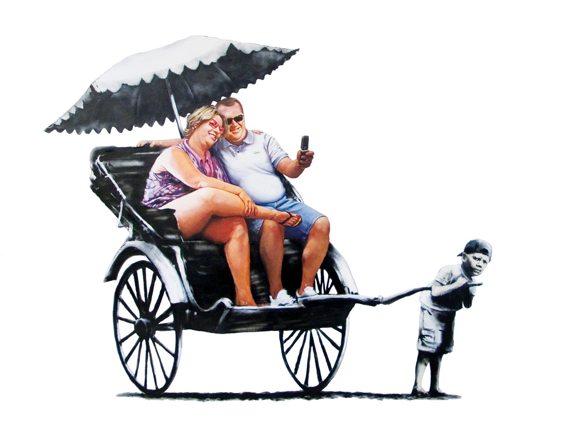 Banksy image: Rickshaw - little third world boy pulls overstuffed first world couple