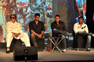 Amitabh, Sanjay and ram gopal at 'Department' movie press meet