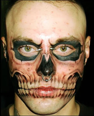 tattoo on face. Realistic Skull Tattoo on Face