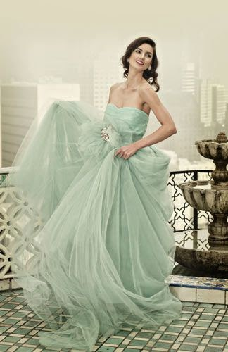 pale green wedding dress