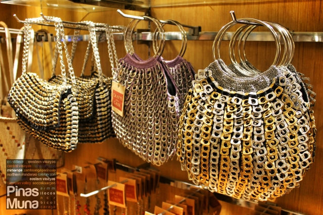 Handwoven bags made with recycled can pull-tabs by the Philippine Christian Center