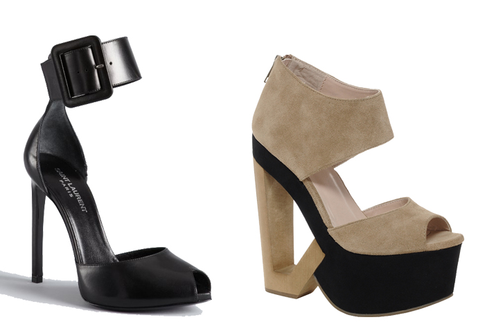 Yves Saint Laurent (YSL) Ankle strap heels and DV8 Phantom cut out wedges