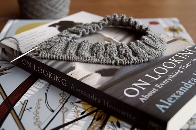 Knitting in progress and the books I am reading piled up together.