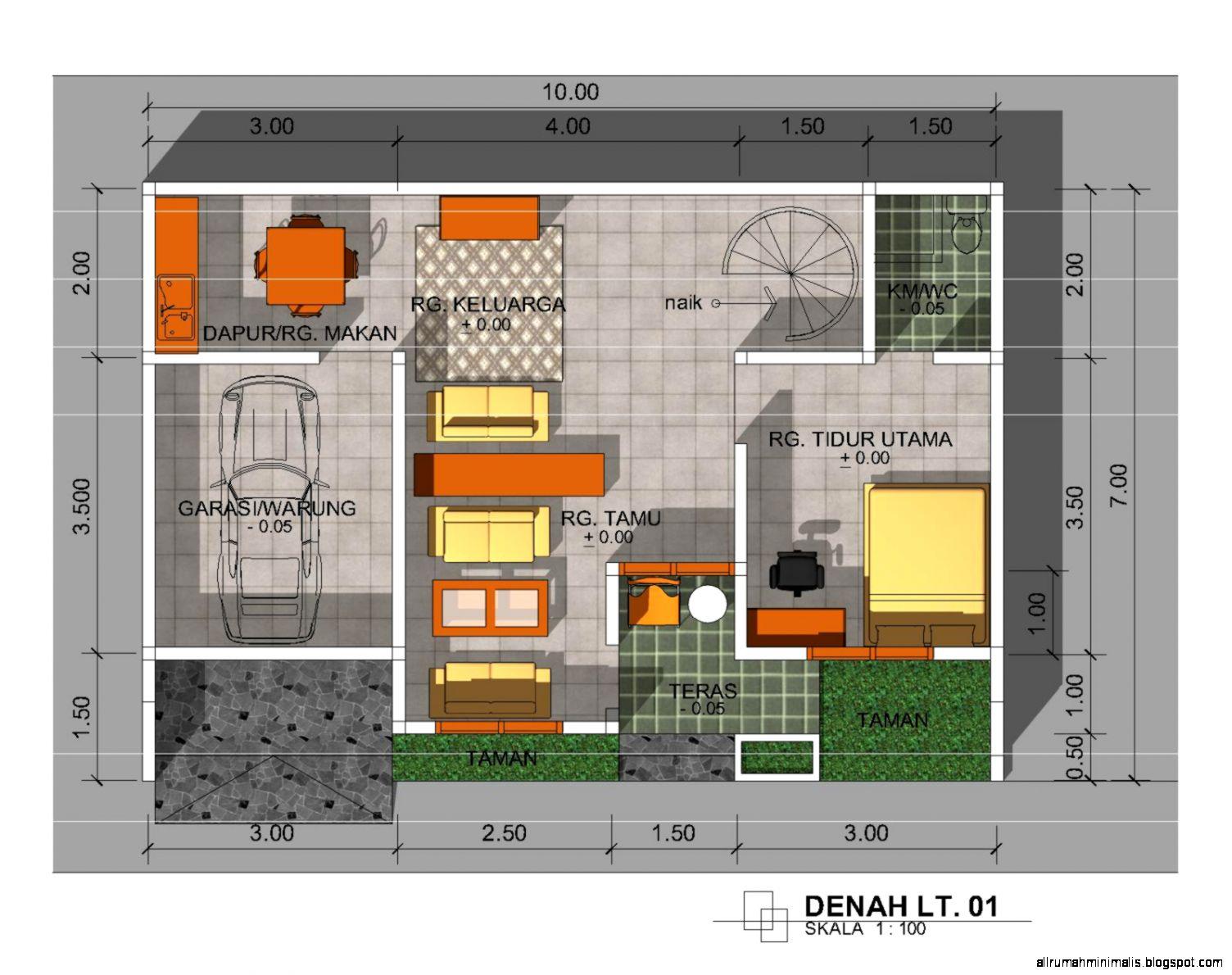 Desain dan denah rumah minimalis 1 lantai1  Cara Mendesain Rumah