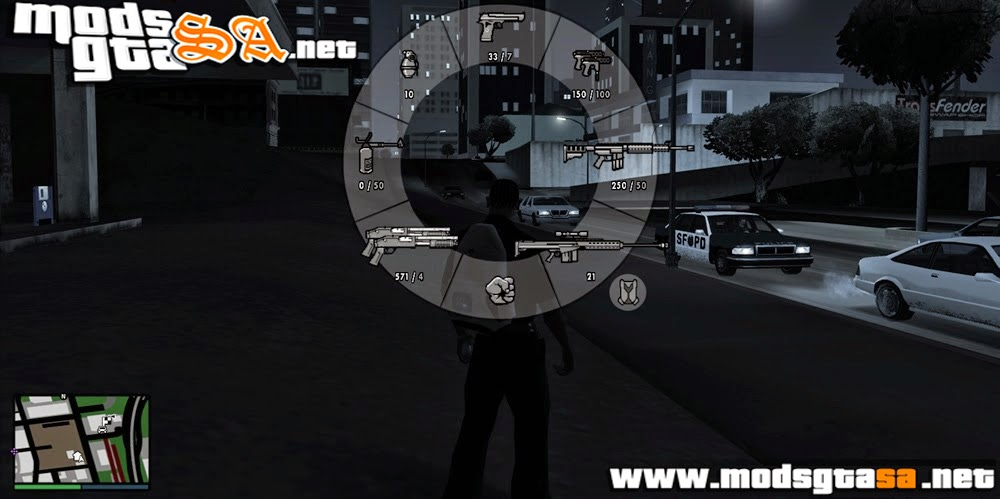 SA - Mod HUD + GPS + HUD das Armas + Troca de Personagem do GTA V
