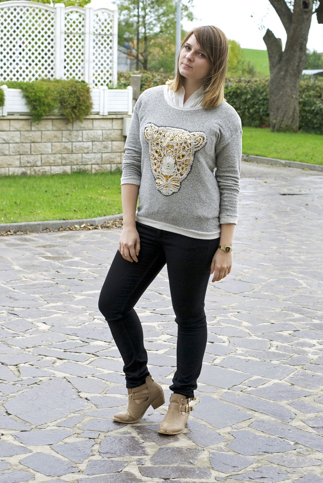 ootd kenzo dupe tiger sweater sequins