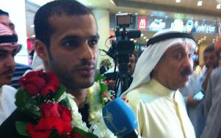 استقبال بدر المطوع في المطار بعد تتويجه كهداف العالم