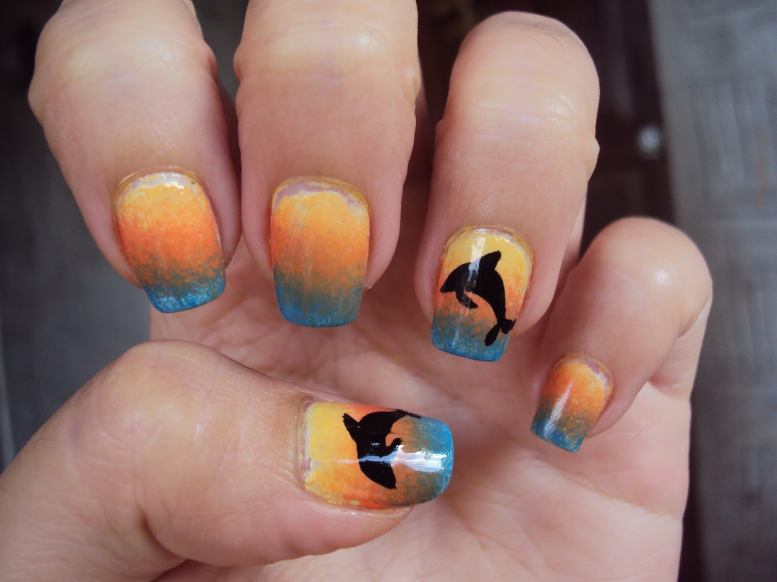 Judy's Little Obsessions ♥: ♥ NAIL ART: Sunset Dolphin