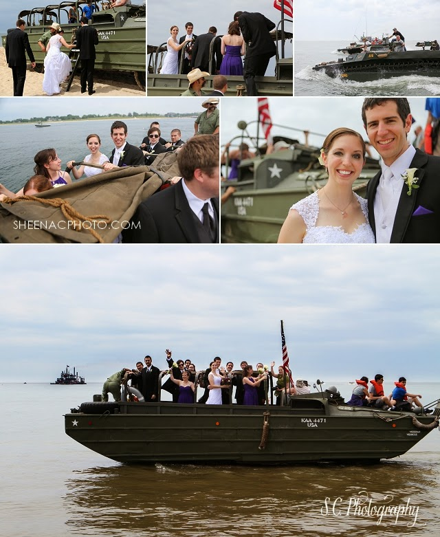Bridal party amphibious vehicle lest we forget duck boat tank military portraits