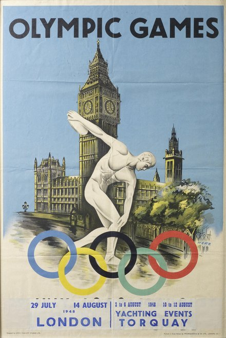 free printable, printable, vintage, vintage posters, sports, retro prints, classic posters, graphic design, free download, Olympic Games, London 1948 - Vintage Olympics Sports Poster