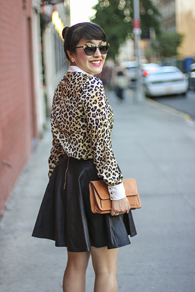 Peter Pan Collar Leopard print blouse with leather skirt