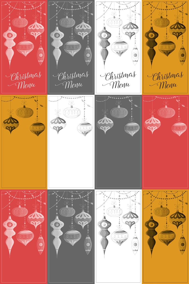 free christmas menu cards