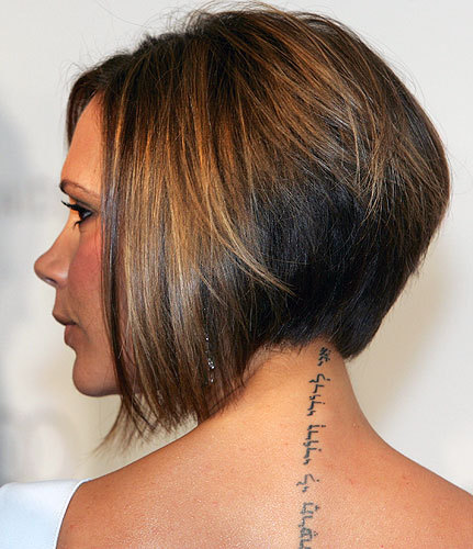 victoria beckham tattoo on neck. African American Bob Hairstyle