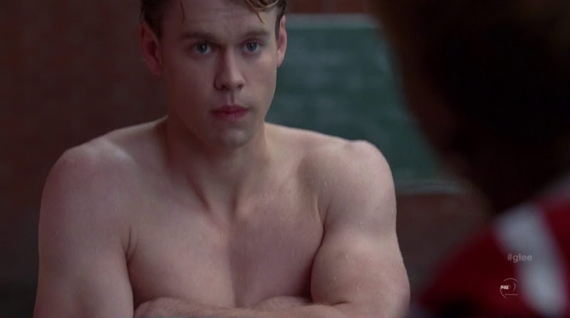 Chord Overstreet Shirtless in Glee s3e10Shirtless