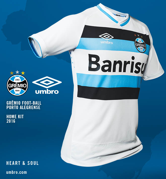 The new Gremio 2016 Away Jersey is white with a bold black and light blue  color block design on the front. It has a classy white and blue v-collar  and light ... 520ea1d56