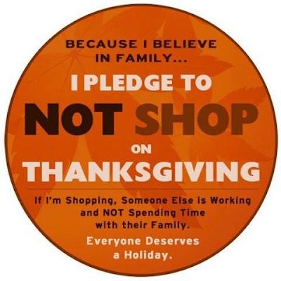 I pledge not to shop on Thanksgiving button