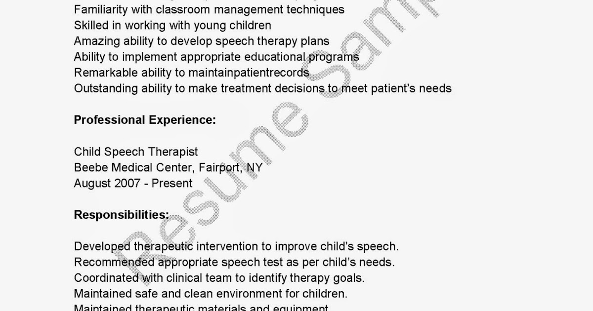 speech therapist resume Application and resume online to know it is likely going through this system   language pathologist' or 'speech-language pathologist' or 'speech pathologist'.