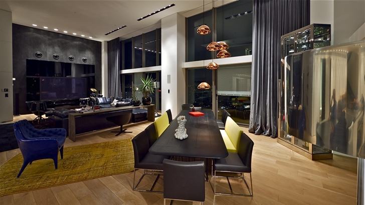 Dining room furniture in Triplex penthouse apartment by Pitsou Kedem
