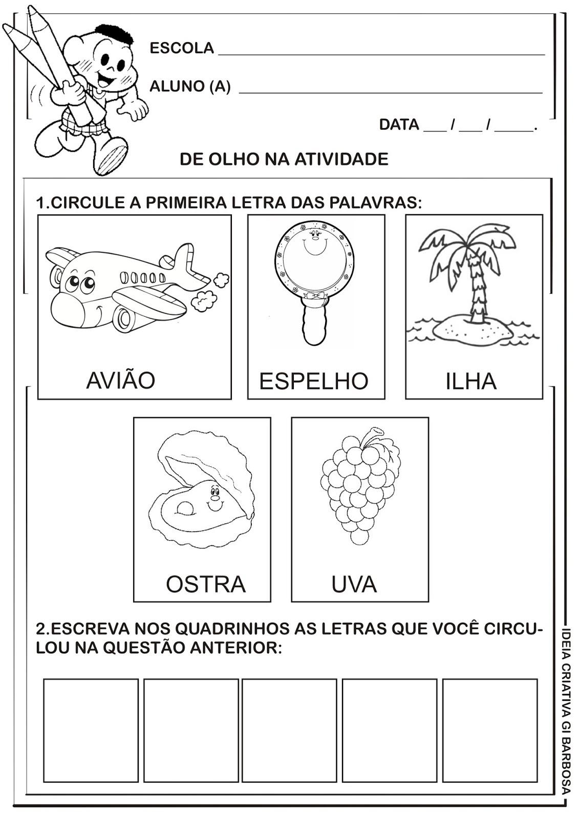 Excepcional Atividade Educação Infantil Vogais | Ideia Criativa - Gi Barbosa  TM04