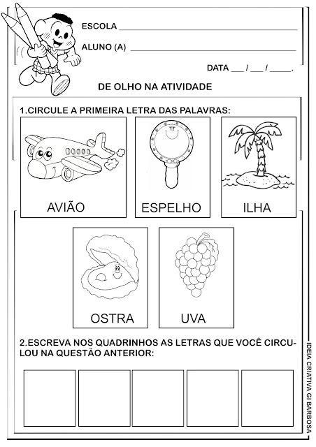 Atividade Educação Infantil Vogais