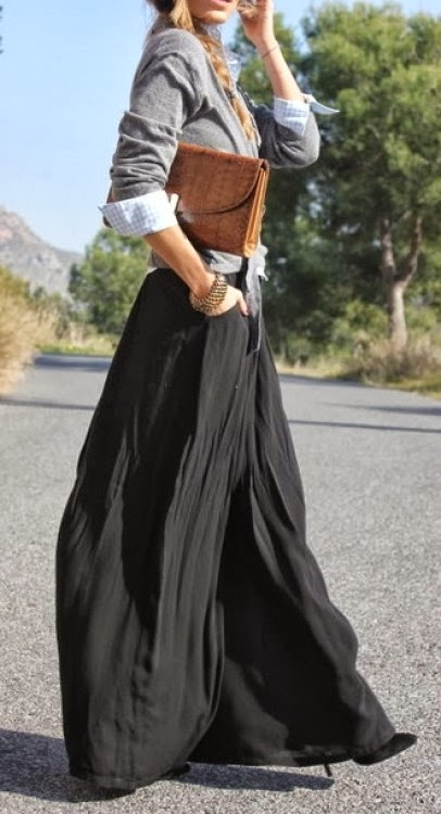 Fall fashion trend with black long skirt