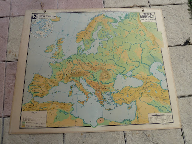 french european antique map from school