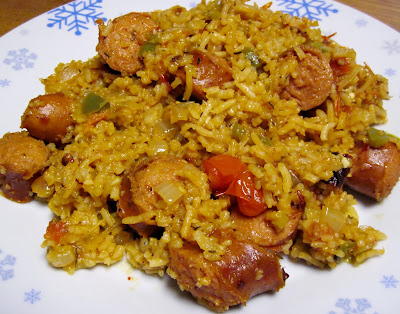 kielbasa and smoky beer rice