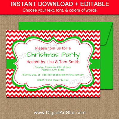 editable christmas party invitation with red chevron