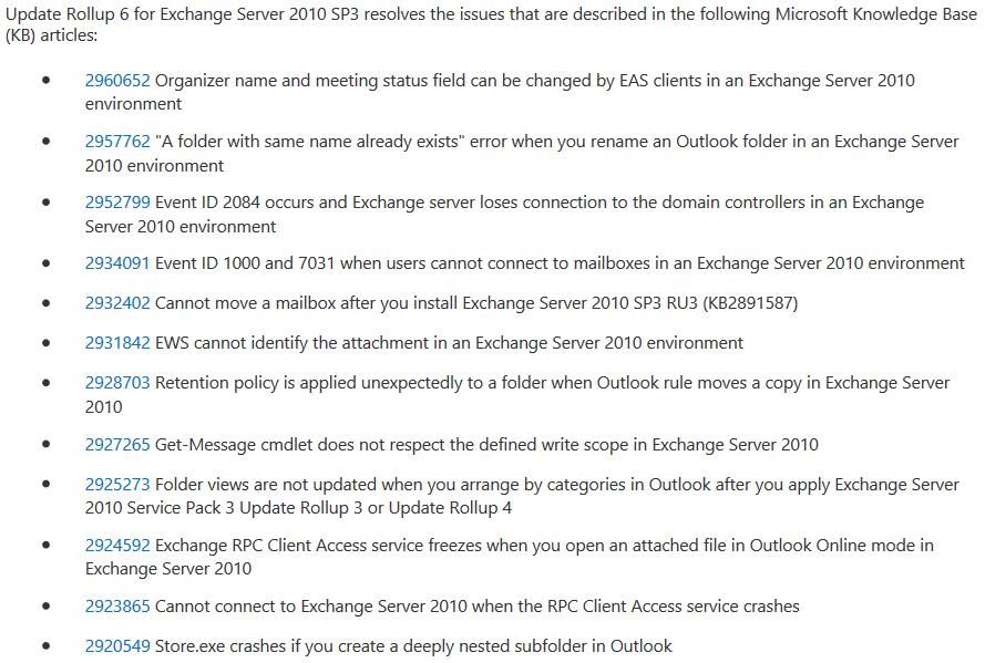 Correcciones que realiza Update Rollup 6 para EX2010 SP3