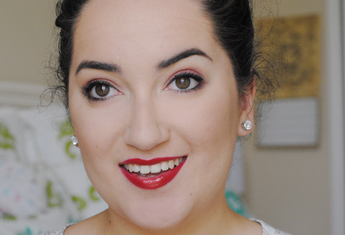 monochromatic makeup look, look of the day, red lipstick, cranberry red eyeshadow, urban decay f-bomb lipstick