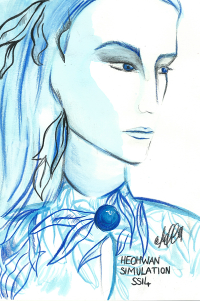 fashion, illustration, art, London Fashion Week, lfw, drawing, back stage, Caroline Jeffery Heohwan Simulation, Yifang Wan, Yeashin, Bernard Chandran, Pinghe,