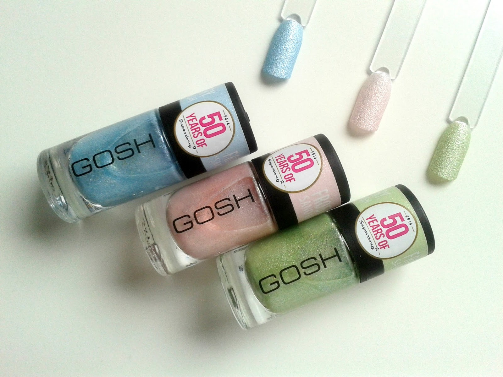 GOSH Frosted Pastel Nail Lacquers Review Swatches Superdrug 50th Birthday Limited Editions