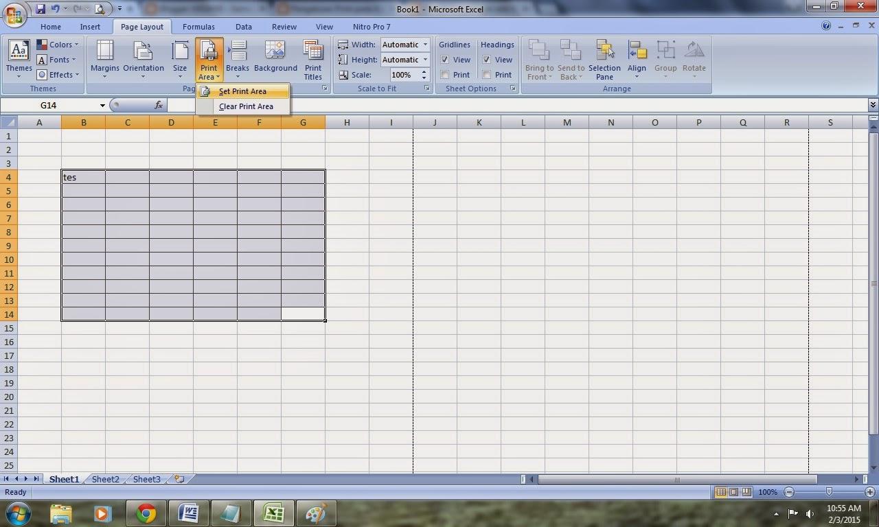 Cara Print Area Pada Excel 2007