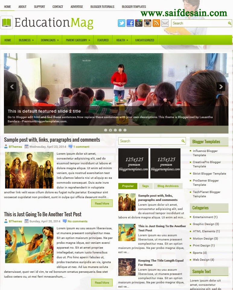 EducationMag Responsive Blogger Template and Setting
