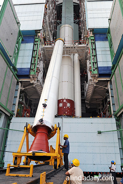 ONE OF THE STRAP-ON MOTORS OF PSLV-C22 BEING TAKEN INTO MOBILE SERVICE TOWER