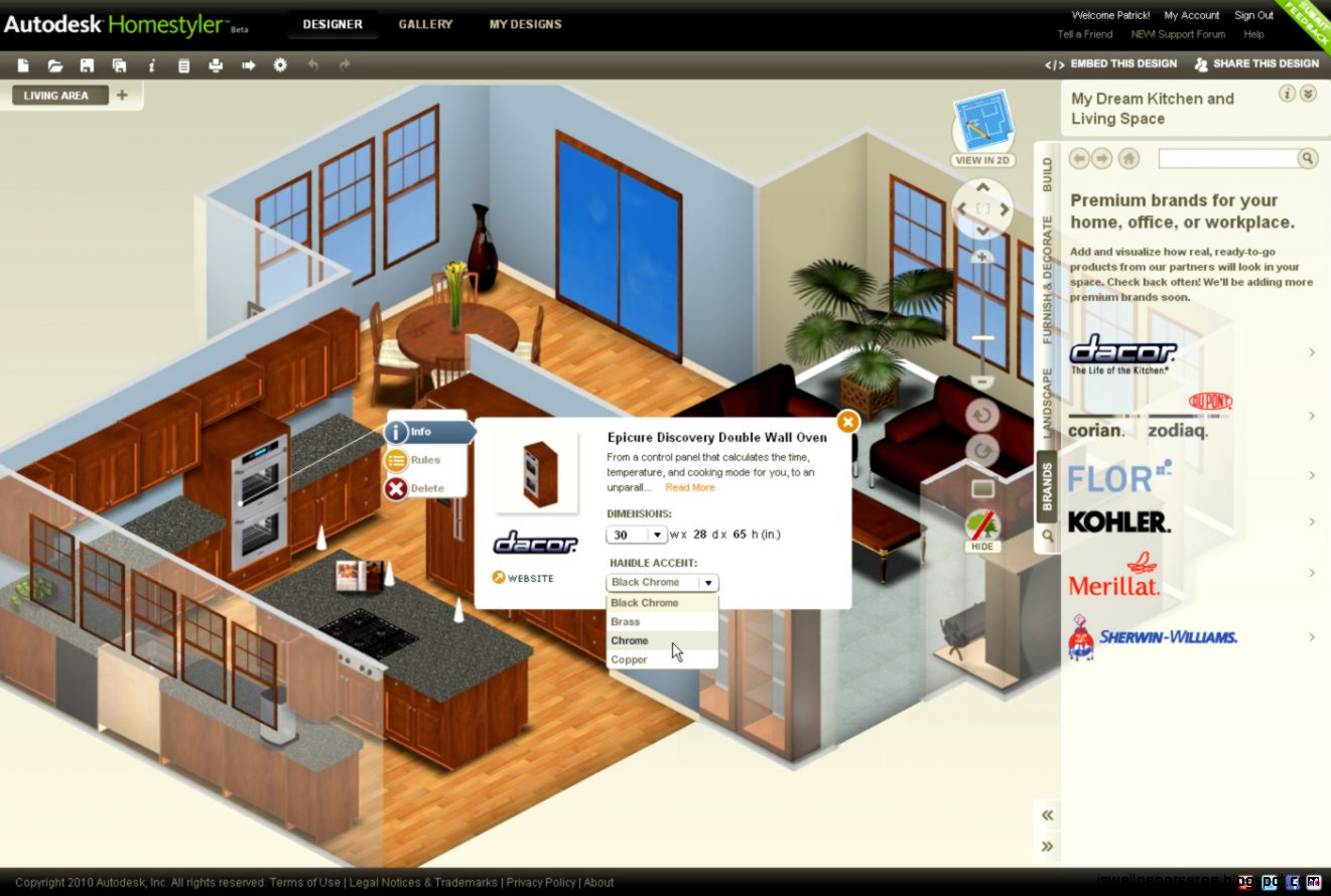 Free 3d kitchen design software perfect for free kitchen for Easy room design software