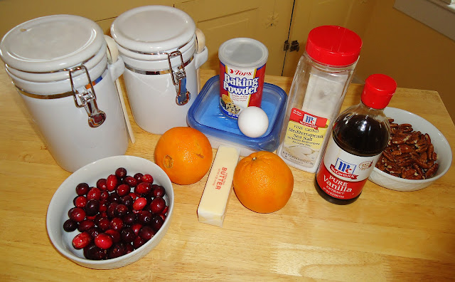 Ingredients needed to make Cranberry Orange Coffee Cake - get the recipe from BlahnikBaker.com