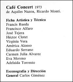CAFÉ CONCERT, de Aquiles Nazoa - Ricardo Monti, dirección Carlos Giménez