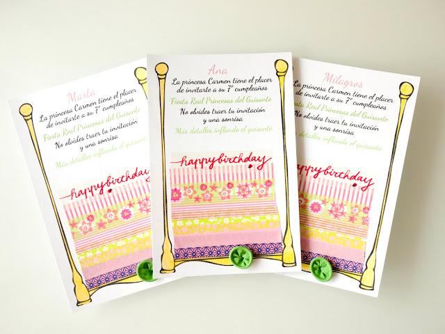Invitaciones de fiesta Princesa del Guisante con washi tape y globo