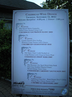 Cakebread Cellars Dinner at Smoke Rise Inn