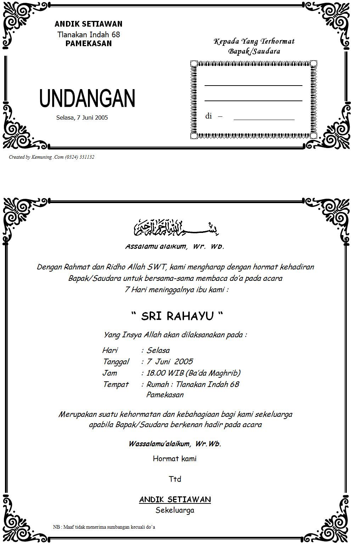 Info Desain Undangan Tahlilan 7 Hari Meninggalnya